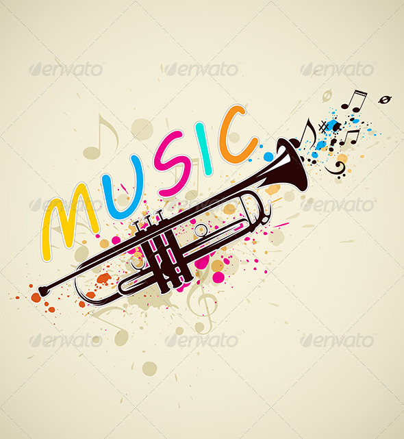 GraphicRiver Music Background with Trumpet 5901845