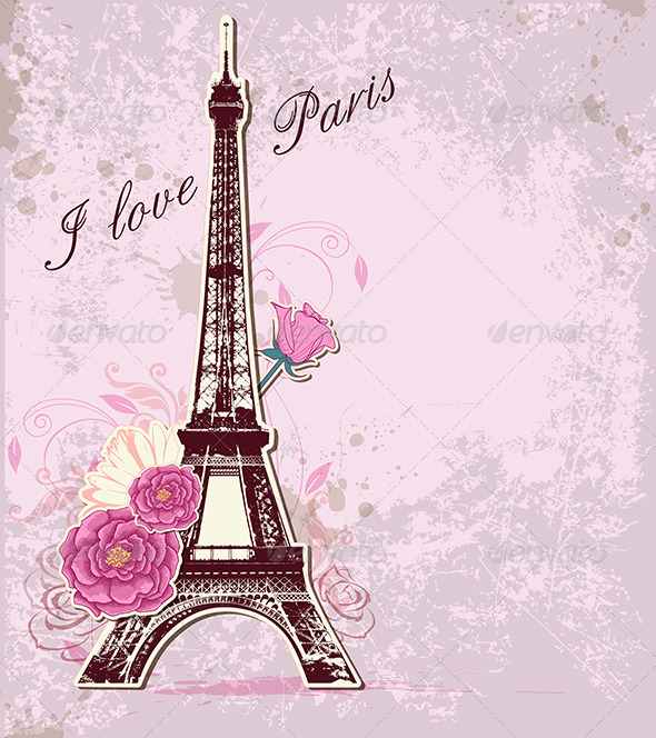 GraphicRiver Roses and Eiffel Tower 5901885