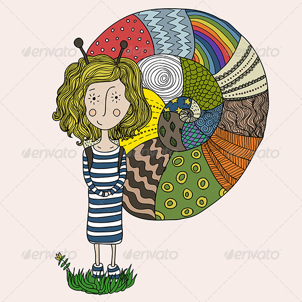 GraphicRiver Girl in a Snail Costume 5901897