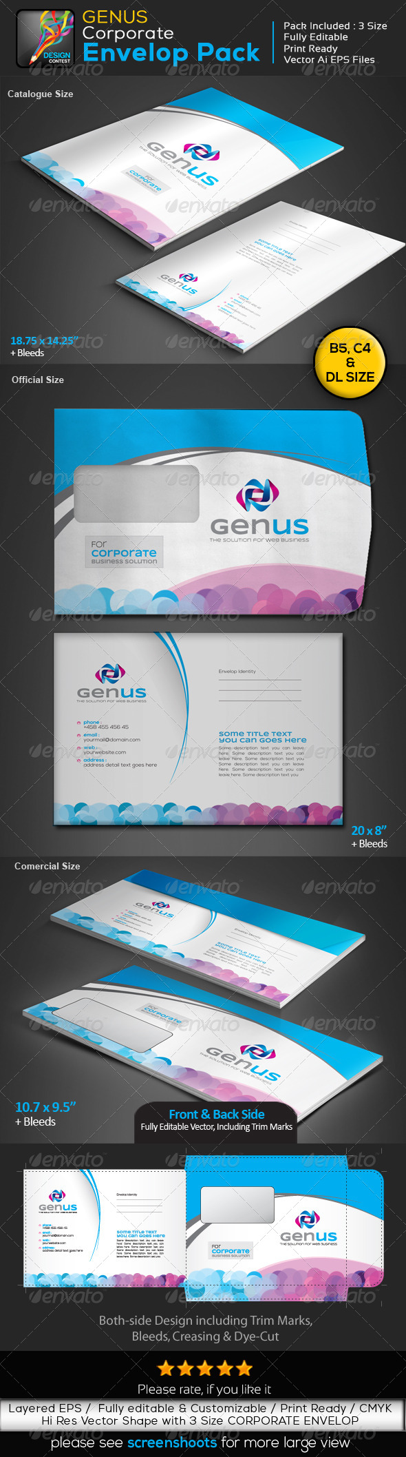 GraphicRiver GENUS Corporate Clean Creative Envelop Pack 5902310