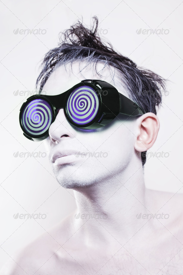 Man With White Skin In Strange Violet Glasses - Stock Photo - Images