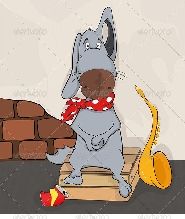 GraphicRiver Dog the Street Musician Cartoon 5902754