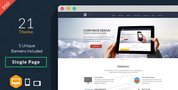 21-PSD Theme Home Page 21-Blog Page 21-Multi Banner Options PSD Features: 21-Theme PSD is one page template using the latest color scheme, it is best for perso