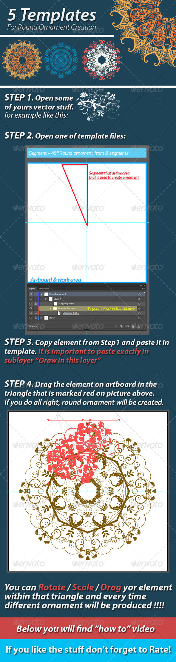 GraphicRiver 5 Templates For Round Ornament Creation 5903236