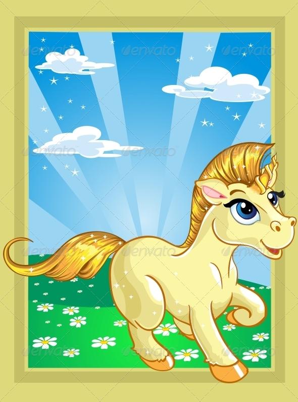 Unicorn on the Fairytale Landscape