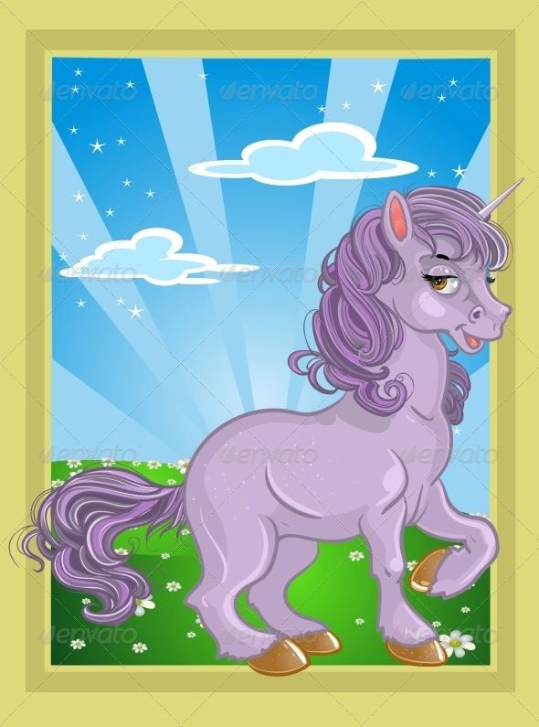 GraphicRiver Unicorn on the Fairytale Landscape 5904039