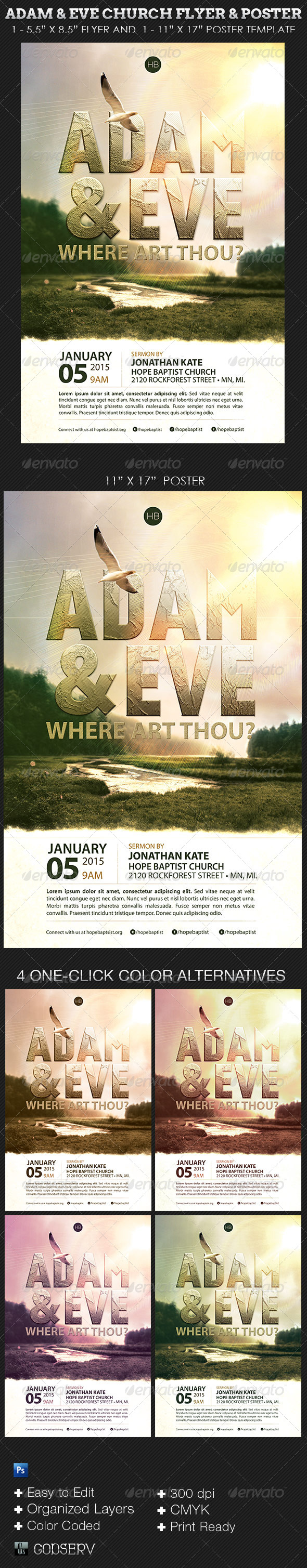 Adam and Eve Flyer and Poster Church Template - Church Flyers