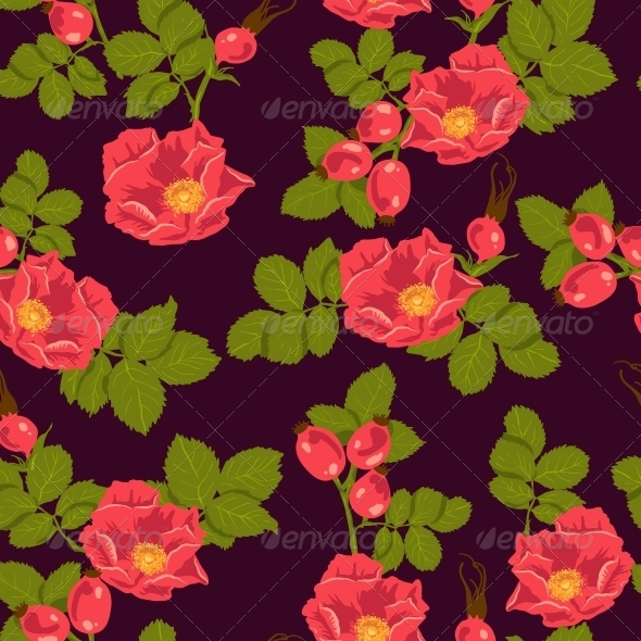 GraphicRiver Seamless Floral Background with Wild Rose 5904156