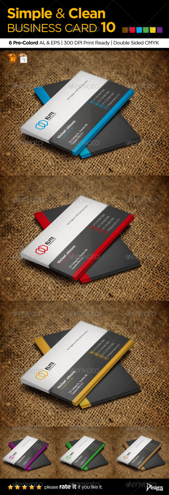 GraphicRiver Simple and Clean Business Card 10 5860854