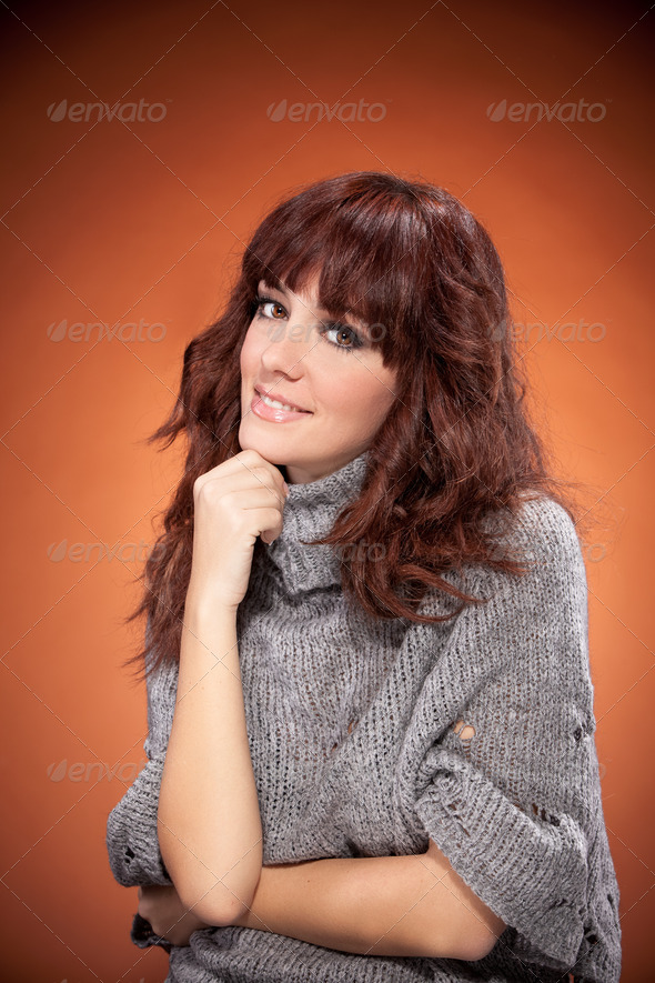 Beautiful Home portrait of brunette woman - Stock Photo - Images