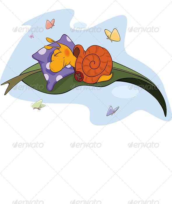 GraphicRiver Sleeping Snail Cartoon 5904768