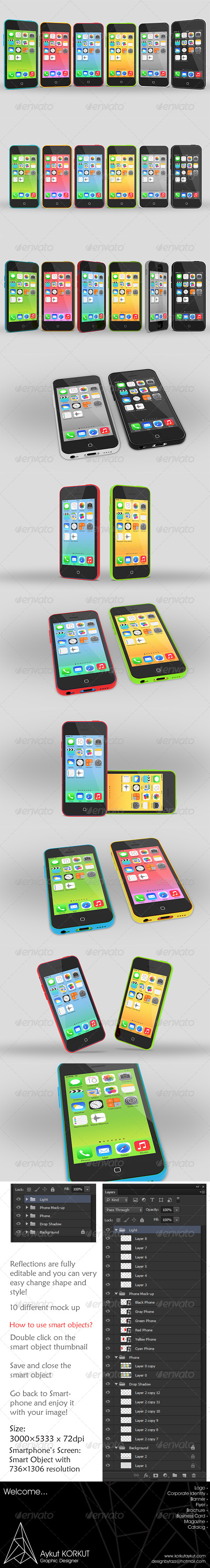 GraphicRiver uPhone 5c Mock up 5905419