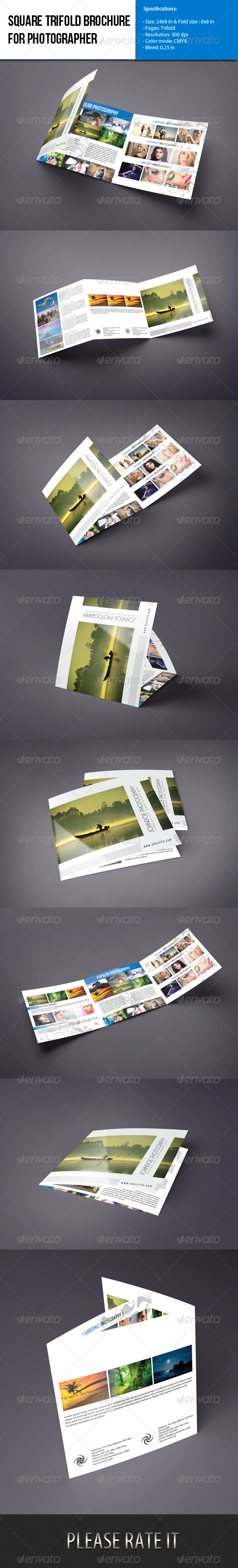 GraphicRiver Square Trifold brochure-Photographer Portfolio 5905701
