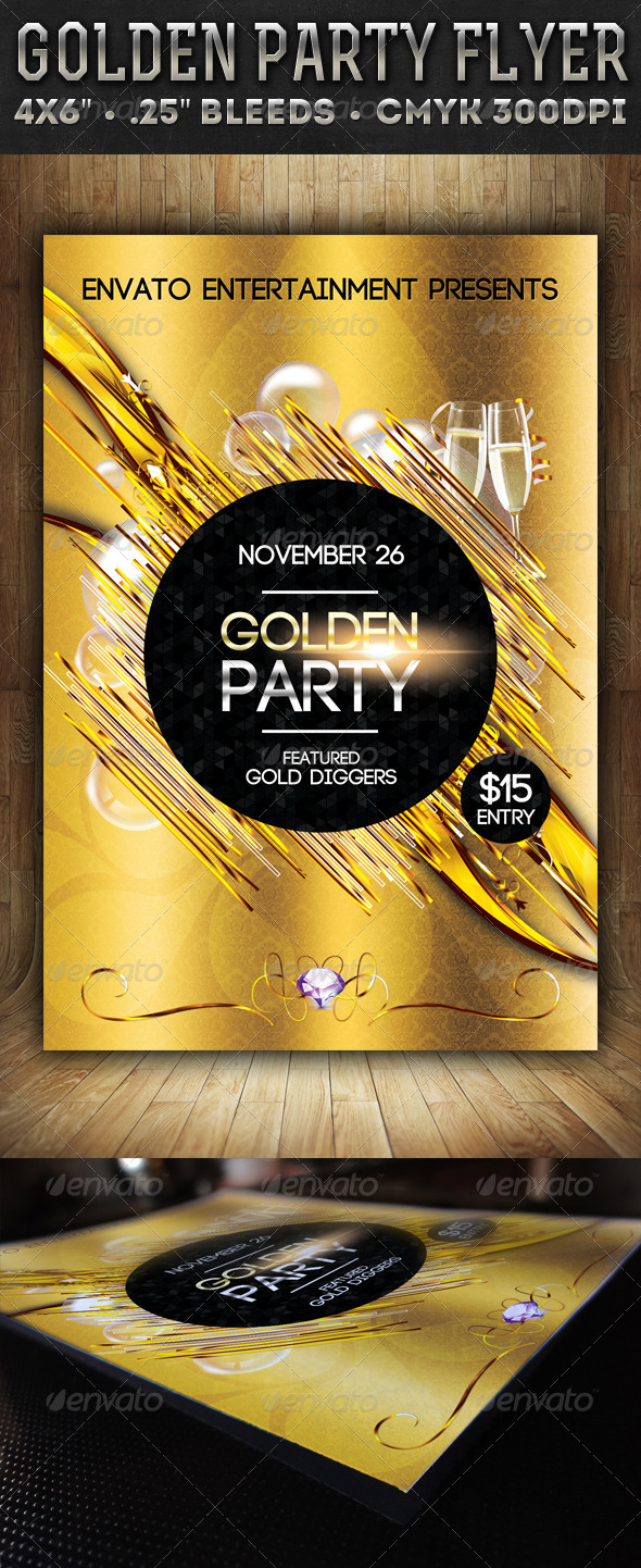 GraphicRiver Golden Party Flyer 5906345