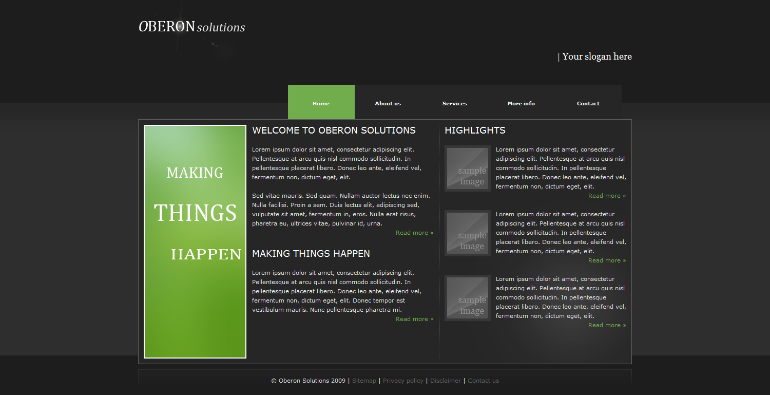 Oberon Business Package - The home page which features some highlights.
