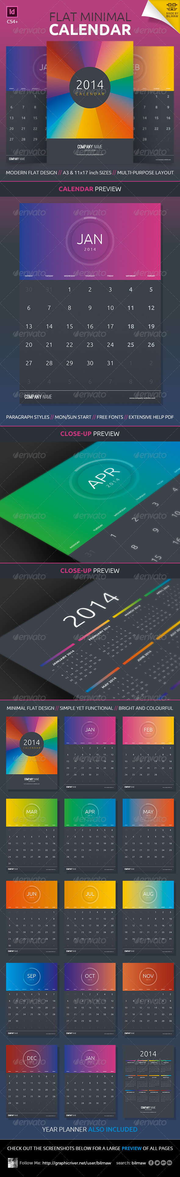 GraphicRiver Flat Minimal Calendar 5906976