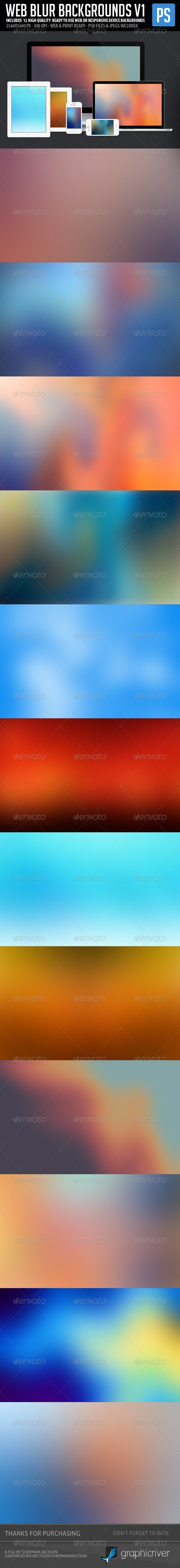 GraphicRiver Web Blur Backgrounds 12 in 1 hi-res 5875669