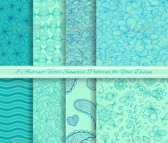 Set of 8 Abstract Vector Seamless Patterns