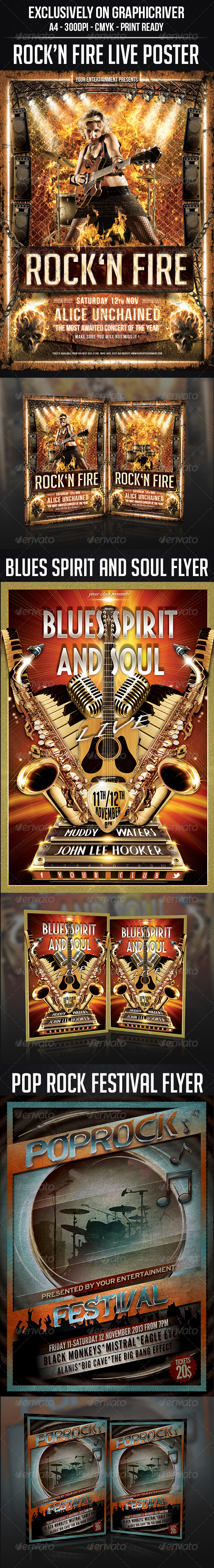 GraphicRiver Concert Live Flyer Bundle 5907445
