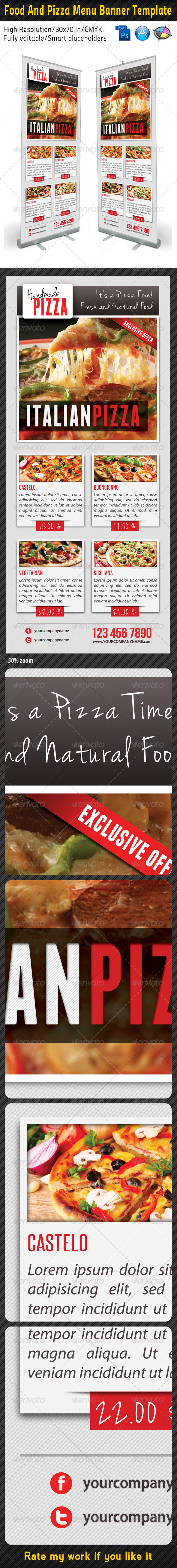 Food And Pizza Menu Banner Template 04 - Signage Print Templates