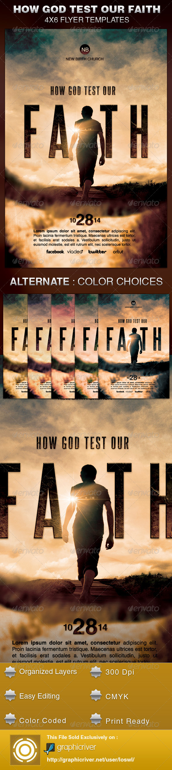 How God Test Our Faith Church Flyer Template - Church Flyers
