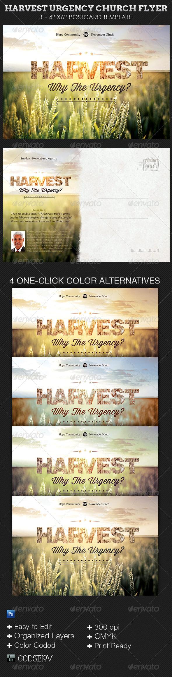 Harvest Urgency Church Flyer and Postcard Template - Church Flyers