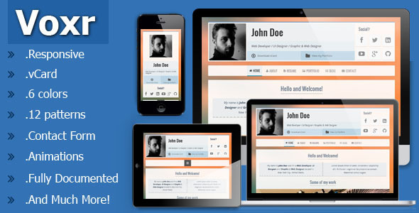 ThemeForest Voxr Responsive vCard Personal Template 5677260
