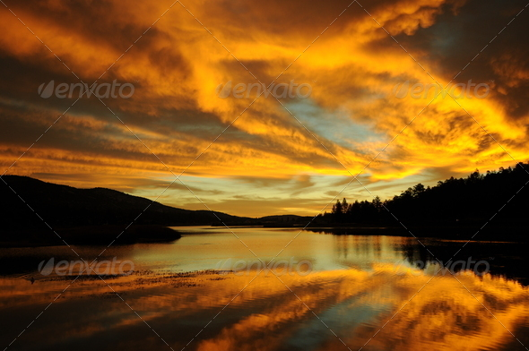 sunrise over lake - Stock Photo - Images