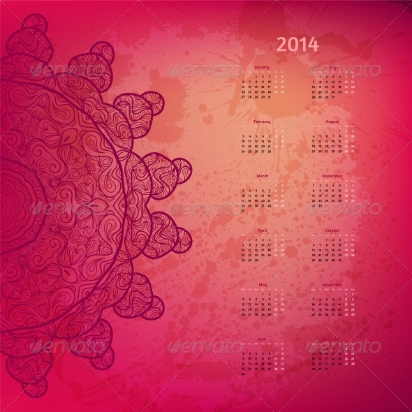 Colorful Rosy 2014 Year Calendar