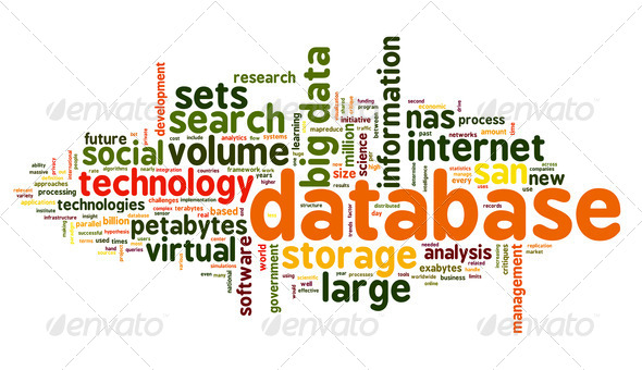 Database concept in word tag cloud on white background - Stock Photo - Images