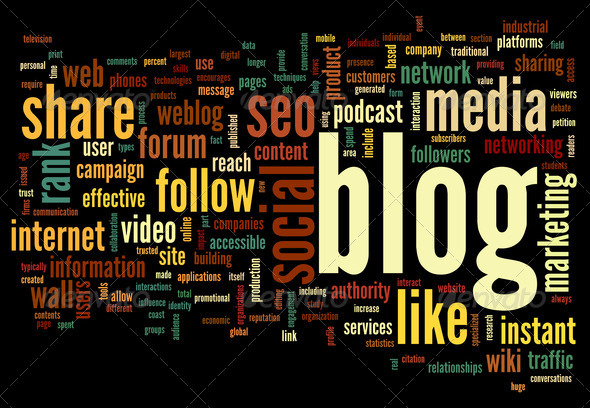 Blog concept in word tag cloud - Stock Photo - Images