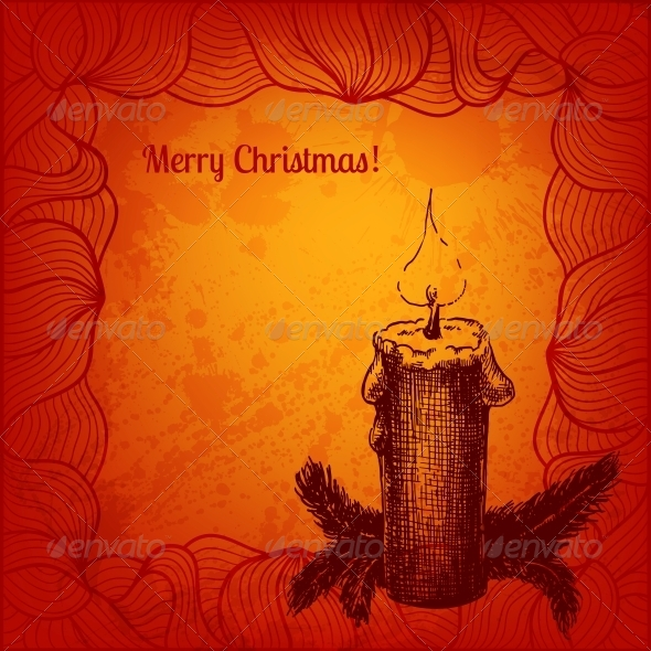 GraphicRiver Colorful Card with a Candle and Fir Tree 5909264