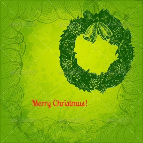 GraphicRiver Hand Drawn Christmas Wreath Illustration 5909406