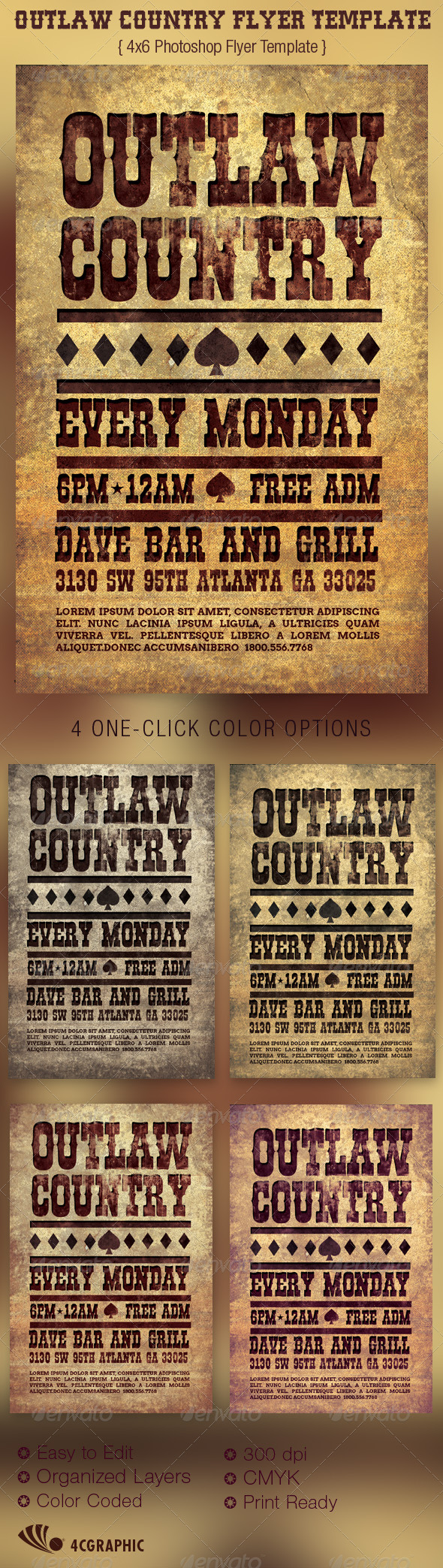 Outlaw Country Flyer Template - Events Flyers