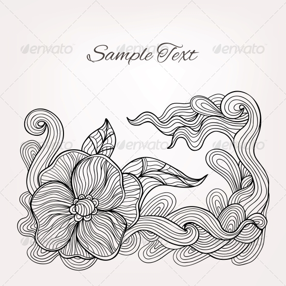 GraphicRiver Black and White Floral Doodle Vector Card 5909580