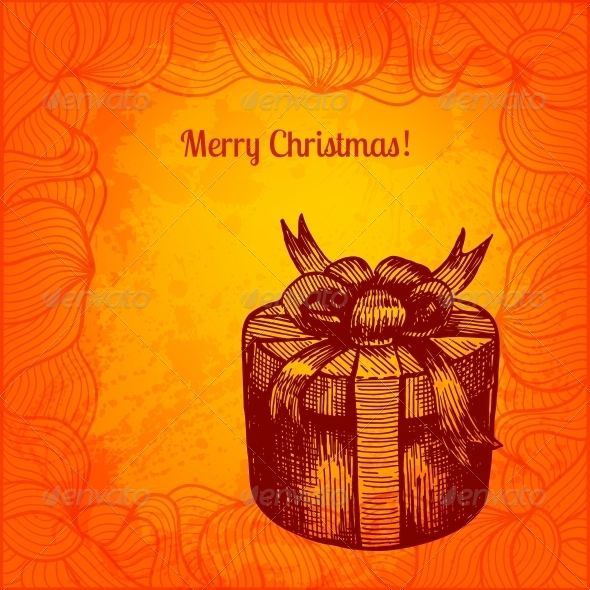 GraphicRiver Colorful Christmas Card with Hand Drawn Present 5909860
