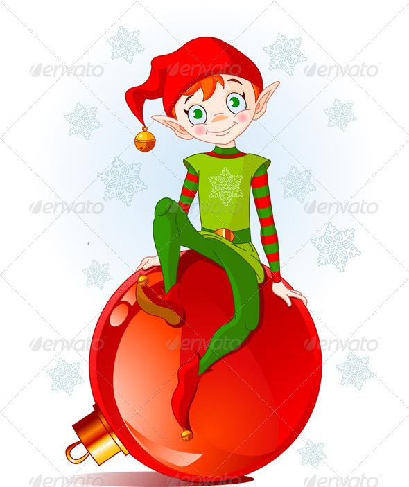 GraphicRiver Christmas Elf Sitting on Ball 5909870