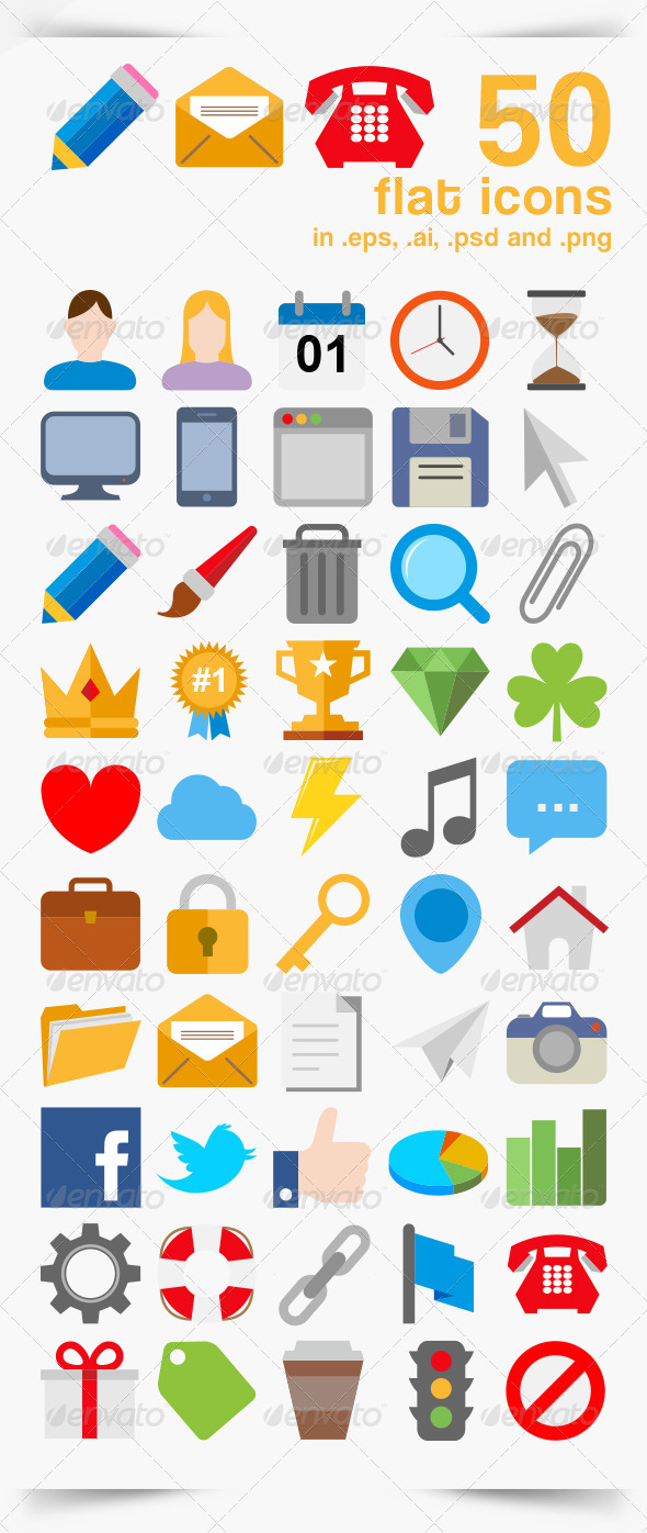 GraphicRiver 50 Vector Icons 5909953