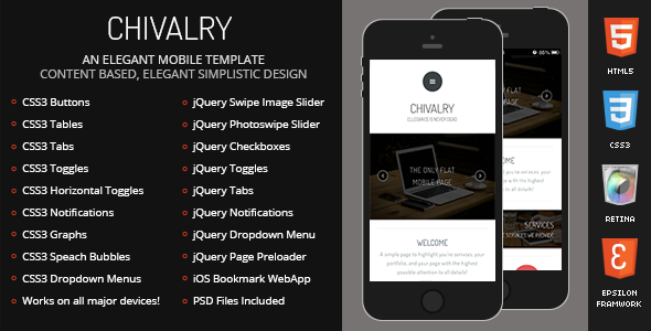 Chivalry Mobile Retina | HTML5 & CSS3 And iWebApp