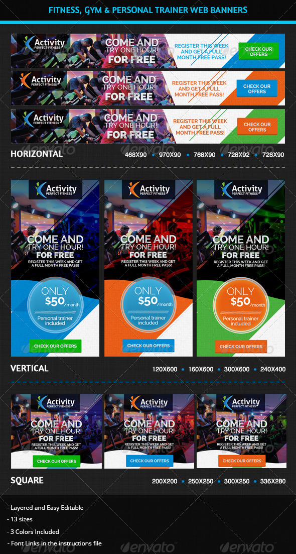 GraphicRiver Fitness Gym & Personal Trainer Web Banners 5910768