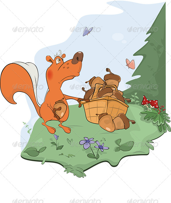 GraphicRiver Squirrel and Acorns Cartoon 5911430