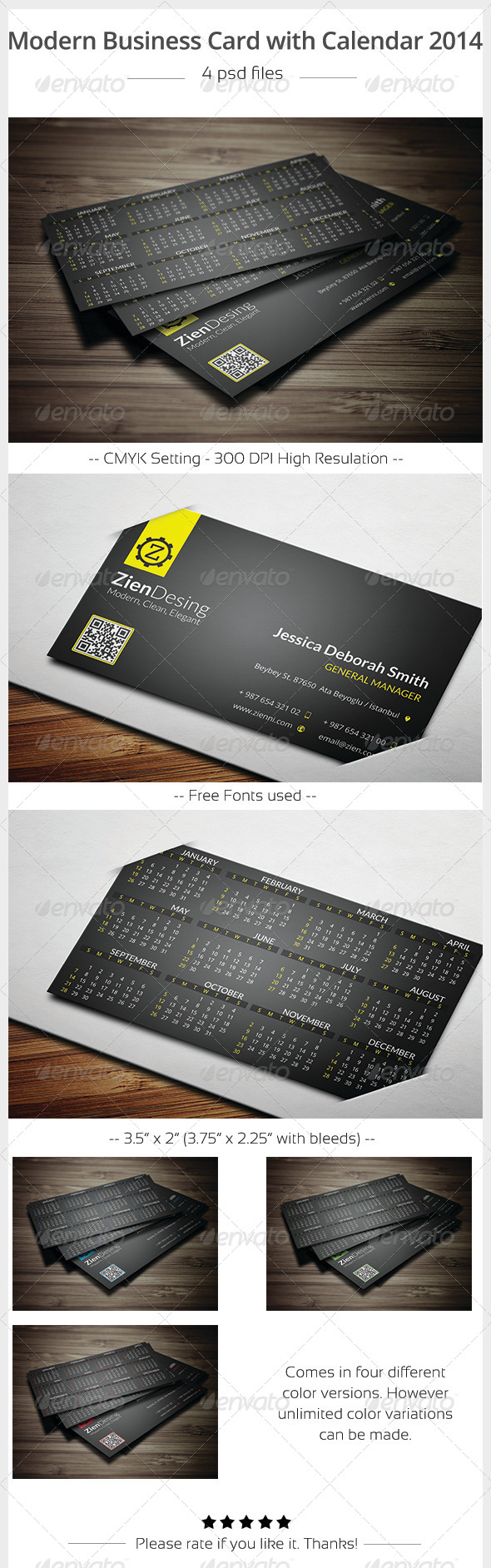 GraphicRiver Modern Business Card with 2014 Calendar 5911509