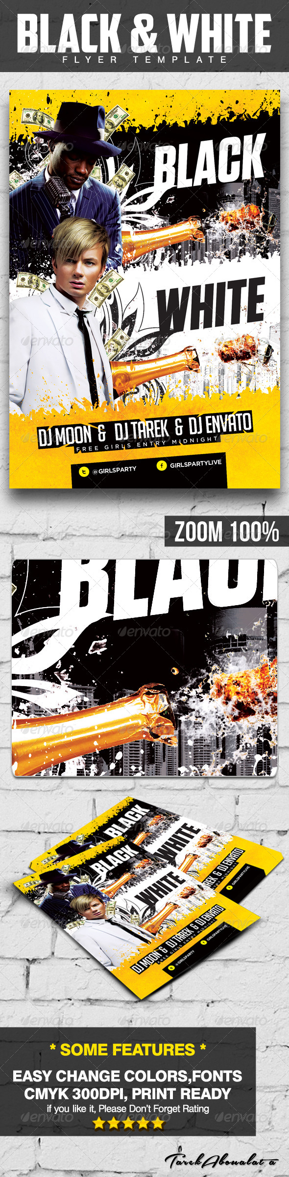GraphicRiver Black And White Bash Flyer Template 5911577