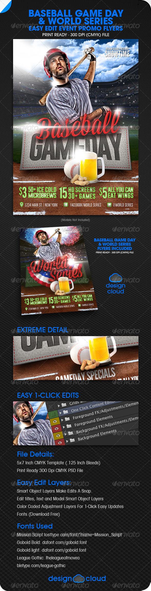 GraphicRiver Baseball Promo Flyer w Bonus World Series Flyer 5869692
