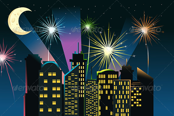 GraphicRiver Fireworks in the City 5911864