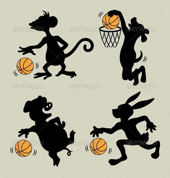 GraphicRiver Animal Playing Basketball Silhouettes 5911970