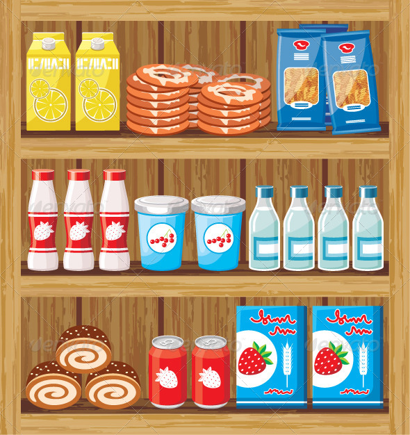 GraphicRiver Supermarket Shelves with Food 5912148