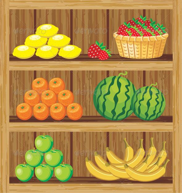 GraphicRiver Supermarket Shelfs with Food 5912186
