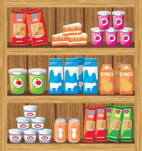 GraphicRiver Supermarket Shelfs with Food 5912189