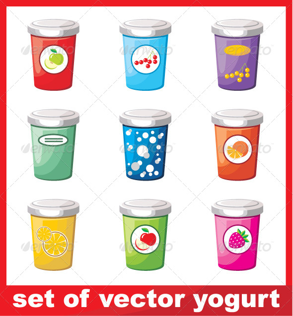 GraphicRiver Set of Yogurt 5912274